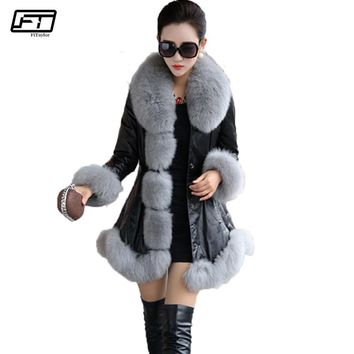 Fitaylor New Women Winter Jacket Plus Size 6XL Pu Leather Faux Fur Coat Casual Long Synthetic Fox Fur Collar Lady Warm Overcoat