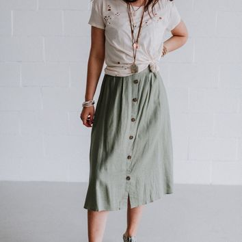 Ambra Button Down Midi Skirt - Olive