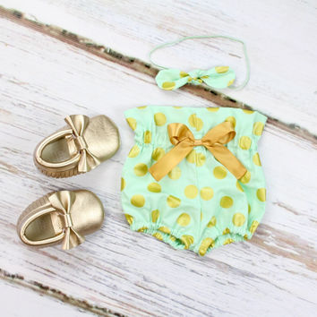 Mint & Gold High Waisted Baby Bloomers