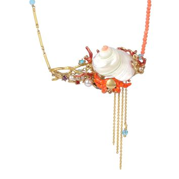 Les Néréides SEA BOTTOM SHELL LONG NECKLACE