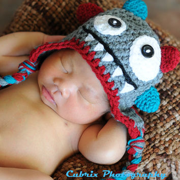 Crochet monster hat-baby hat-photo prop-Grey/Teal/Dark red-colorful monster hat
