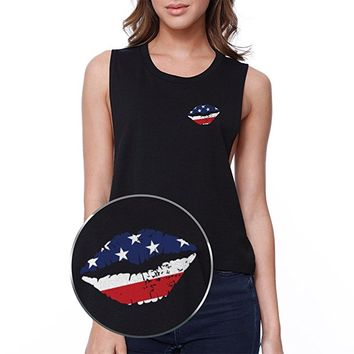 365Printing American Flag Lip Pocket Print Crop Tee 4th Of July Junior Tank Top