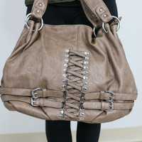 Making Memories Taupe Handbag With Buckle Details