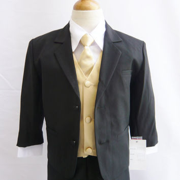 Formal Boy BLACK Tuxedo with Long Tie (5 Pieces in 1 Set) - (Size S, M, L, XL only) - Boy Teen Toddler Ring Bearer