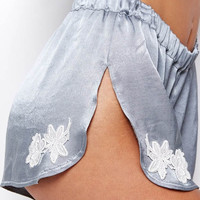 For Love & Lemons Le Fleur satin shorts in slate/white