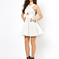 ASOS PETITE Exclusive Cut Out Front Skater Dress at asos.com