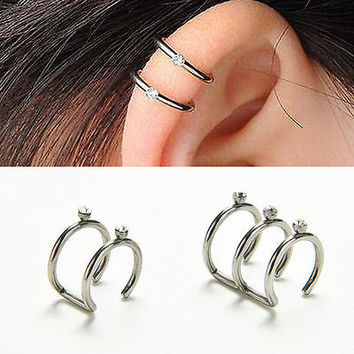Prevalent 2/3 Row Cartilage Ear Nose Cuff Wrap Clip On Earrings No Piercing HU