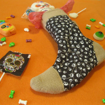 Witch's Sock - Halloween Candy and Treat Stocking - Tan Skulls - Tan & Black Holiday Stocking