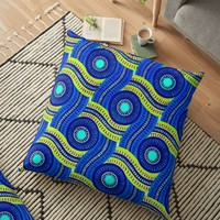 'KENTE PATTERN 10' Floor Pillow by planetterra