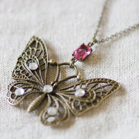 Butterfly Necklace - Antiqued Charm Clear Swarovski Crystals Pink Vintage Jewel Cable Chain