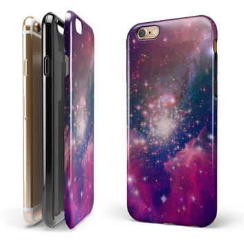 Vibrant Sparkly Pink Space iPhone 6/6s or 6/6s Plus 2-Piece Hybrid INK-Fuzed Case