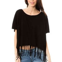 Women's Fringe Dolman Top
