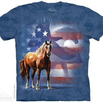 New WILD STAR FLAG (FEATURING A HORSE AND EAGLE) T SHIRT
