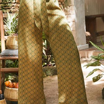 UO Satin Paisley Wide-Leg Pant | Urban Outfitters