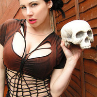 Post Apocalyptic Steampunk Pirate Goth Shredded Top