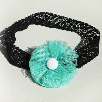 black&white lace, turquoise tulle tiffany flower, headband, poppy, pin up girl style, decorative lace embroidered headband, handmade