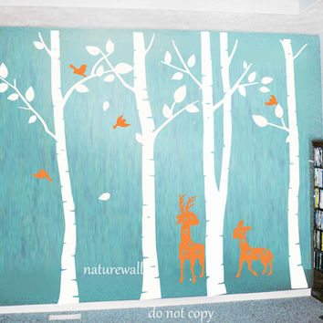 Forest Decals  baby nursery decal Kids wall decals white tree decals wall art deer decal -birds and deer in Birch forest