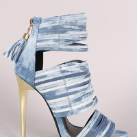 Liliana Washed Denim Strappy Tassel Stiletto Heel