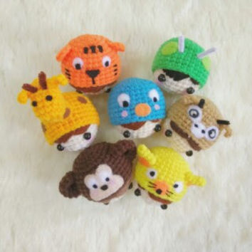 Amigurumi Crochet doll Runningman animals gang friendship Key Chains