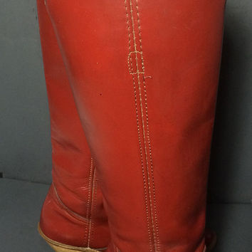 Frye Vintage 70's Red Leather Riding Boots Women's Size 6.5