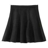 Black High Waisted Flare Skirt