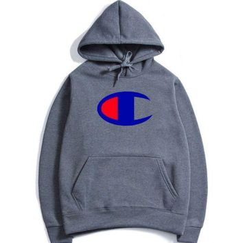The Champion stereo printed with a velvet jacket, a new style hooded, autumn and winter wear men's hoodies.