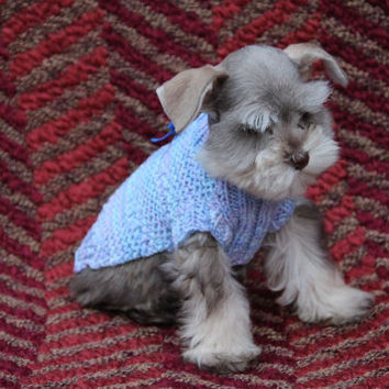 Small dog jumper, cat jumper, Dog clothes, pet clothes, for you tiny T cup baby, very little puppy, in multi blues and lilac.