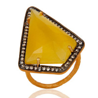 CZ & Faceted Yellow Moonstone 18K Gold Plated Sterling Silver Designer Ring