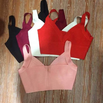 2015 New Fashion Ladies rayon knitted stretch V neck strap cute sexy Bandage bustier Crop Tops