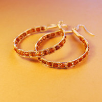 Silver Wire Wrap Polished Czech Beads Earrings