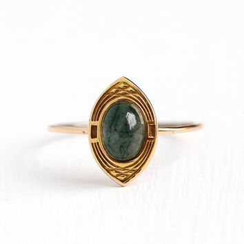 Antique 18k Rosy Yellow Gold Moss Agate Ring - Vintage Early 1900s Size 9 1/2 Chalcedony Green Cabochon Gemstone Fine Marquise Jewelry