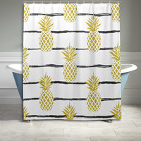 Gold Pineapple Stripe Pattern Shower Curtain Bathroom Decor Home Decor