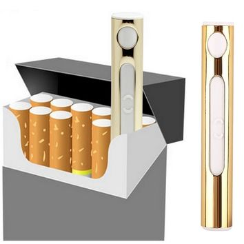[1 Pack] Gold USB Charger Electric Lighter - Nacodex Rechargeable USB Lighter, USB Cigarette Lighter Portable Rechargeable ([1 Pack] Gold)