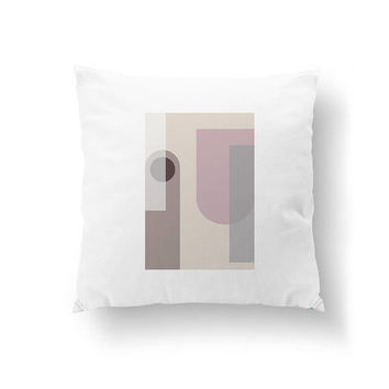 Textured Shapes, Decorative Pillow, Simple Art, Throw Pillow, Geometric Pattern, Pink Brown Pastel, Home Decor, White Pillow, Cushion Cover