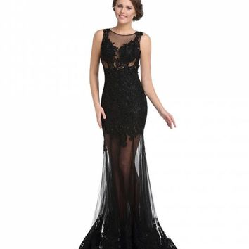 Black Lace Sheer Gown for Prom 2017