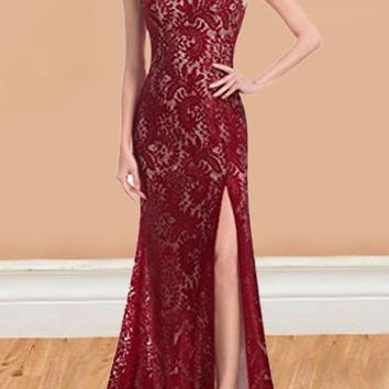 Red Patchwork Lace Slit Backless Sleeveless Cocktail Party Maxi Dress