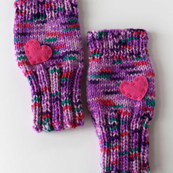 Rave Fingerless Gloves - Spicedrop Purple with Pink Heart - Vibrant, Rave, EDC, Festival Goers, Burning Man