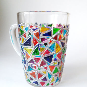 Coffee mug  Mosaic glass mug  Sun catcher mugs Triangle mug Hand painted coffee mugs