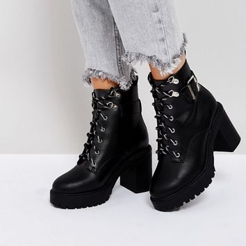 ASOS EDGE Wide Fit Chunky Heeled Ankle Boots at asos.com