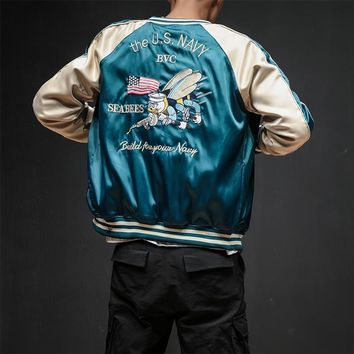 Trendy Two Sides Luxury Embroidery Bomber Jacket Smooth Men Sukajan Yokosuka Souvenir Jacket Streetwear Hip Hop Baseball Jacket AT_94_13