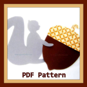 Grey Squirrel and Jumbo Acorn PDF Pattern - Woodland Magic Series - Quilt Block - No Sew Iron On - Sewing - DIY - Template