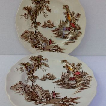 Johnson Bros. Ironstone The Old Mill 6-1/4 inch plates Two Polychrome Transfer-ware