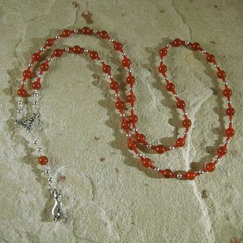 Bast (Bastet) Prayer Bead Necklace in Carnelian: Egyptian Goddess of Love, Joy, Music