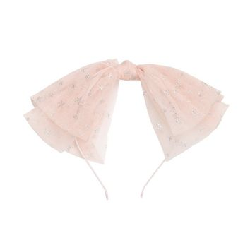 Project 6 NY Sheer Pink Tulle Headband with Silver Stars