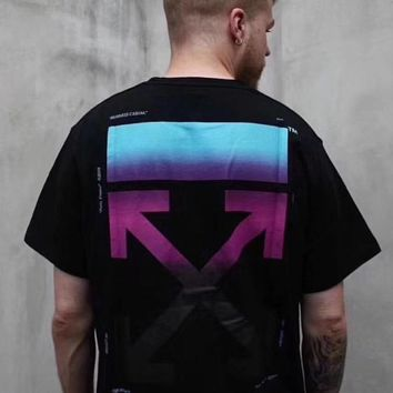 OFF-WHITE Tide brand neon gradient print men's and women's round neck half sleeve T-shirt Black