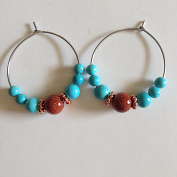 Stainless Hoops, steel hoops, hoop earrings,beaded hoops, silverbymaggie, boho earrings, chic earrings, hypoallergenic earrings, gifts