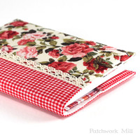 Fabric Journal Cover - Red Roses - Fabric Cover A6 Notebook, Diary - Red Green Flowers and Gingham, Beige Lace, Vintage Look Book Cover