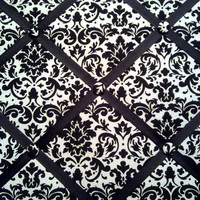 Black and White Damask Print French Memo Board  with Black Ribbon - 24 x 30  - French Memory Board - Bulletin Board - FREE Domestic Shippin