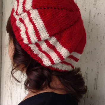 Bohemian Chunky Slouchy Beanie,Fall Autumn Winter Knit Hat,Women's Accessory,Red Off White Knit Hat,Soft Beanie,Handmade,Christmas Gift
