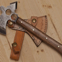Damascus Steel Custom Hand Made Hunting AXE Knife 12""